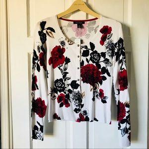 💕NWT White House Black Market Red Flower Cardigan